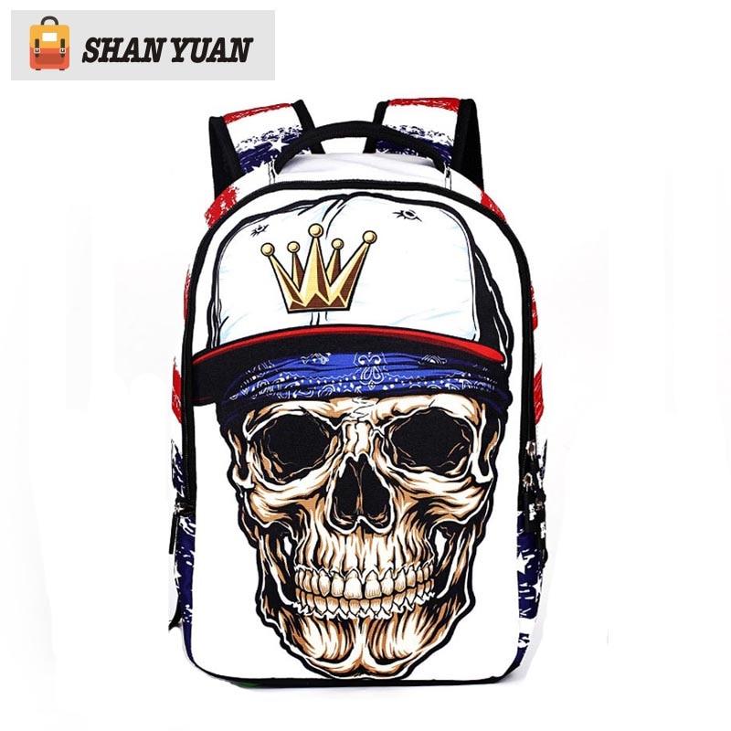 2016 Brand Fashion Laptop Backpack Printing 3D Skull Heads School Bags For Teenagers Boys Men Travel Mochila 18 Inch