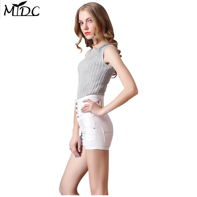 2017 Europea blanco vaqueros delgados de cintura alta pantalones cortos de las mujeres Apretadas atractivas botón sólido pantalones cortos de mezclilla mini