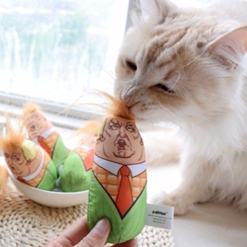 1 Pc Kattenkruid Kussen, Kattenkruid Speelgoed, Trump Hoofd Maïs Ontwerp Kat Speelgoed 11*4.5 Cm