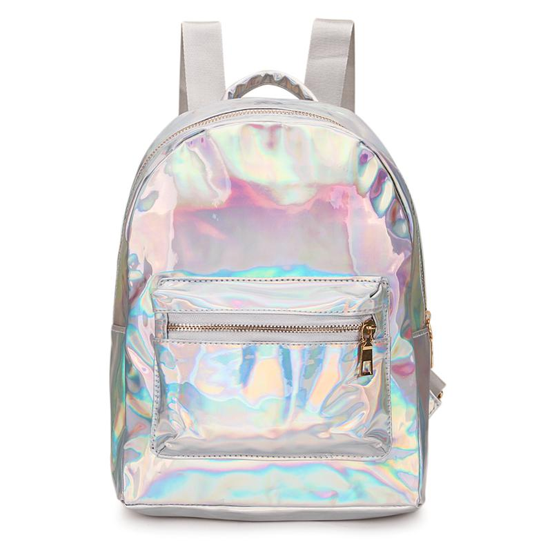 2019 Reflective Women Backpack Mini Travel Bags Silver Laser Backpack Women Girls Shoulder Bag PU Leather Holographic Backpack