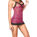Women Sexy  Leopard Lingerie Dress babydoll  Mesh Sleepwear Erotic nightdress M L XL
