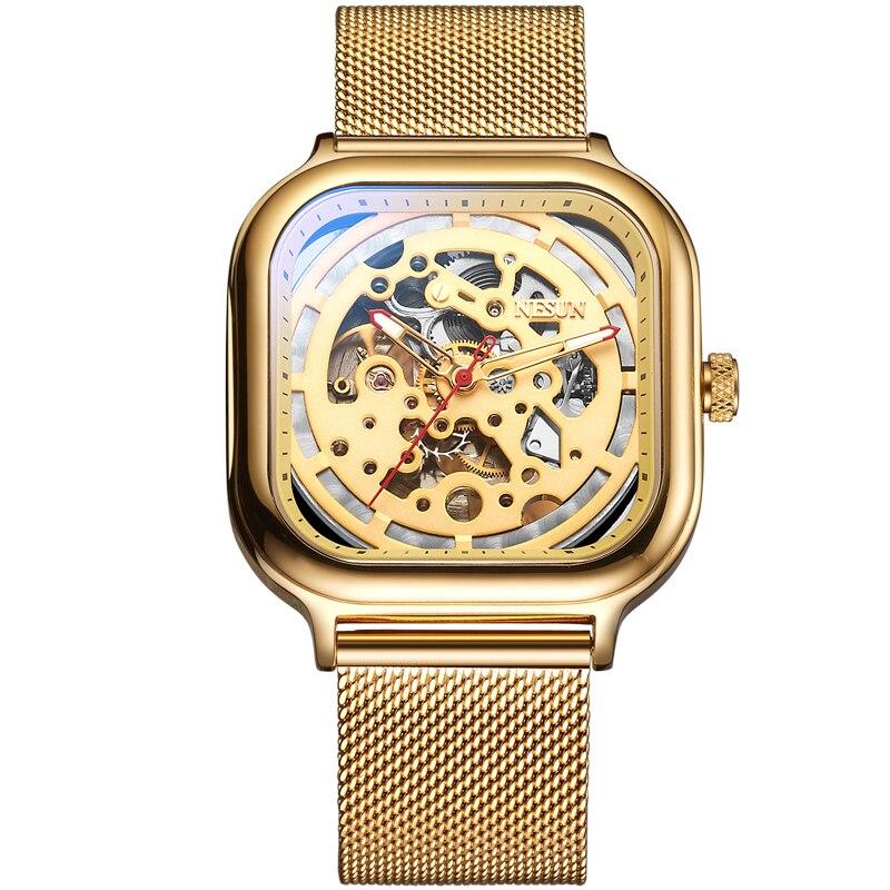 все цены на Switzerland Nesun Automatic Mechanical Watch Skeleton Clock Men Luxury Brand Men's Watches Waterproof relogio masculino N9505G-4 онлайн