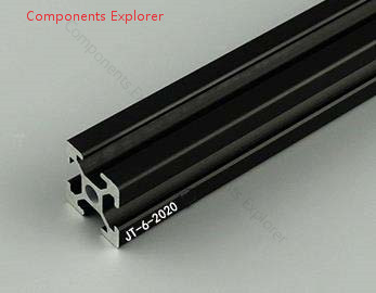 Произвольная резка 1000 мм 2020 черный алюминиевый профиль, черный цвет.