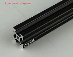 Произвольная мм Резка 2020 мм 1000 Черный алюминиевый экструзионный профиль, черный цвет