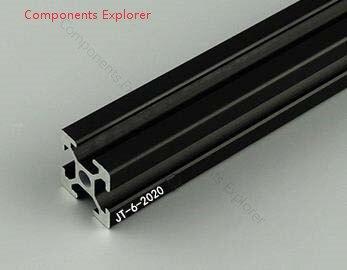 Corte arbitrário 1000mm 2020 perfil de alumínio preto da extrusão, cor preta.