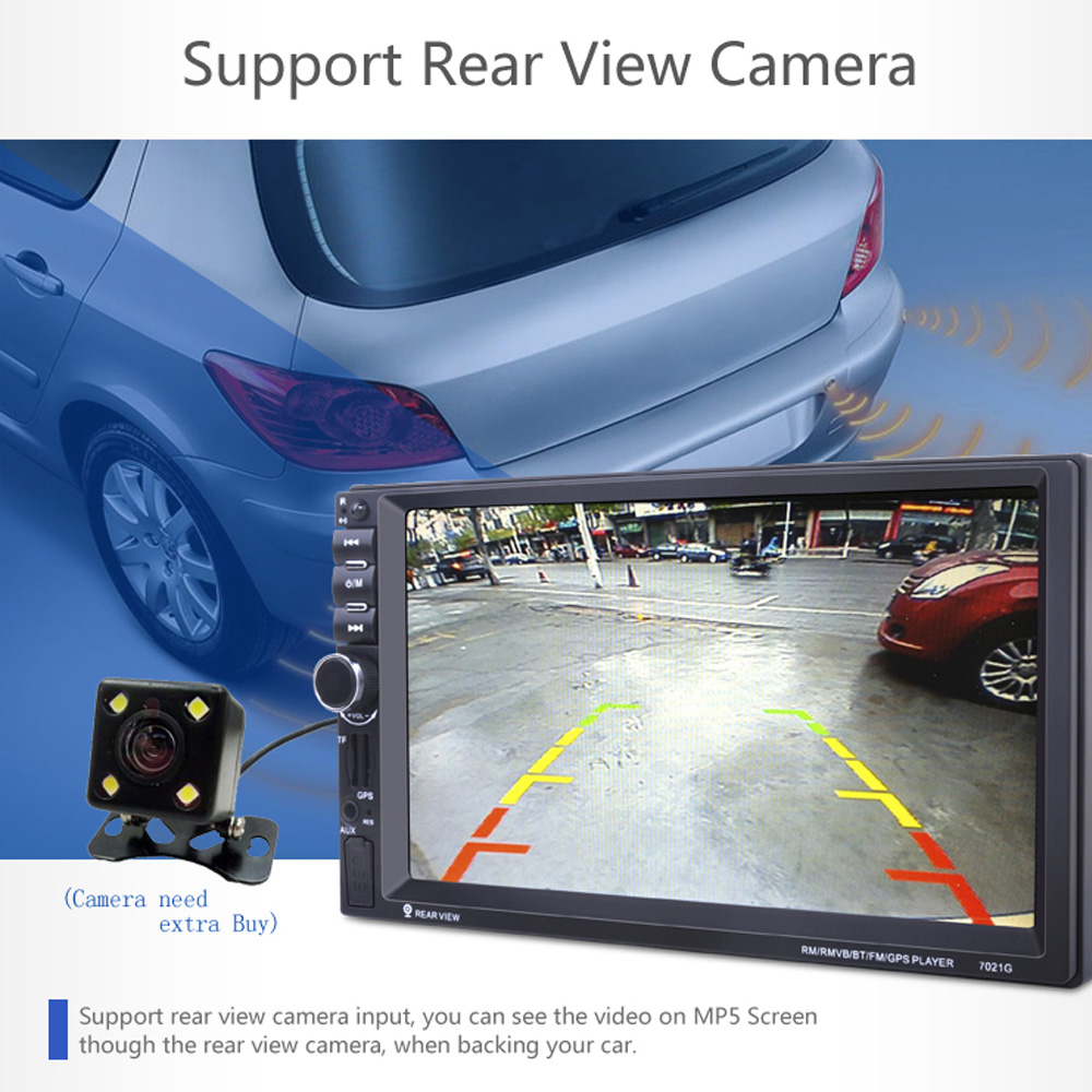 REAKOSOUND GPS 7inch Touch Screen Support hands-free calls Rear view camera Stereo Radio MP5 FM Player + 420 TV Lines IR Camera