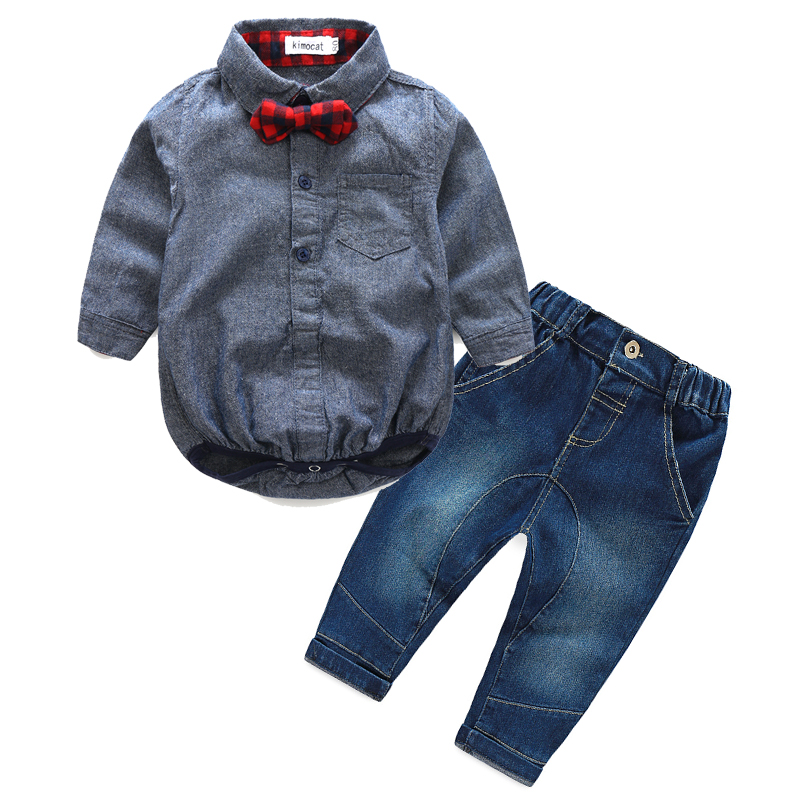 2016 autumn baby boy girl clothes Long sleeve rompers shirts+jeans baby boys clothes bebe clothing set newborn baby rompers baby clothing 100% cotton infant jumpsuit ropa bebe long sleeve girl boys rompers costumes baby romper