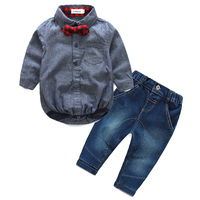 2016 Autumn Baby Boy Girl Clothes Long Sleeve Rompers Shirts Jeans Baby Boys Clothes Bebe Clothing