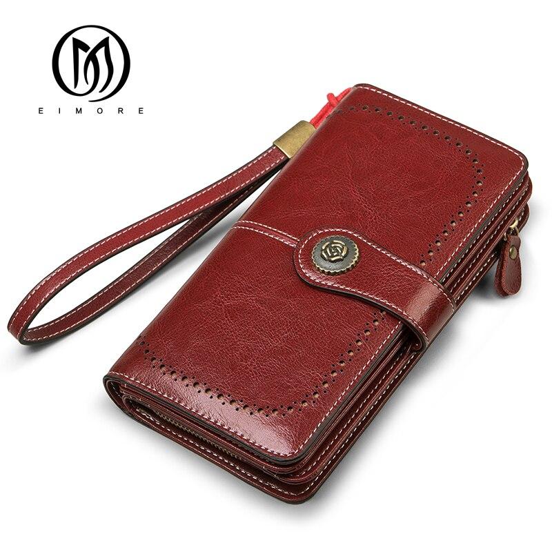 EIMORE Women Clutch 2019 New Wallet Split Leather Wallets Female Long Wallet Women Zipper Purse Money Bag For iPhone 7 Plus