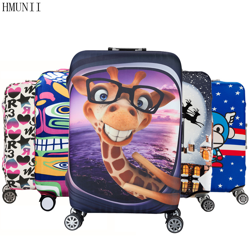 HMUNII Elastic Luggage Protective Cover For 19-32 inch Trolley Suitcase Protect Dust Bag Case Child Cartoon Travel Accessories travel aluminum blue dji mavic pro storage bag case box suitcase for drone battery remote controller accessories