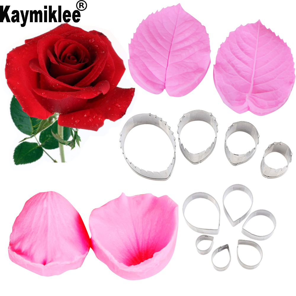 Rose Flower-Making Silicone Mould Accessories Stainless Steel Cutter Gum Paste Floral Petal Cutter Silicone Veiners Mold CS230