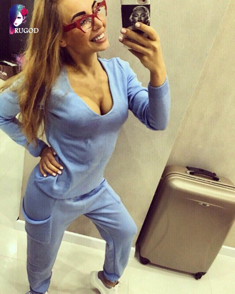 17 Hot 2 Pieces Set Women V-Neck Sexy Knitted two pieces sets Spring Suits Tracksuit Sweater top+ Pants Set Womens Casual Suit 8