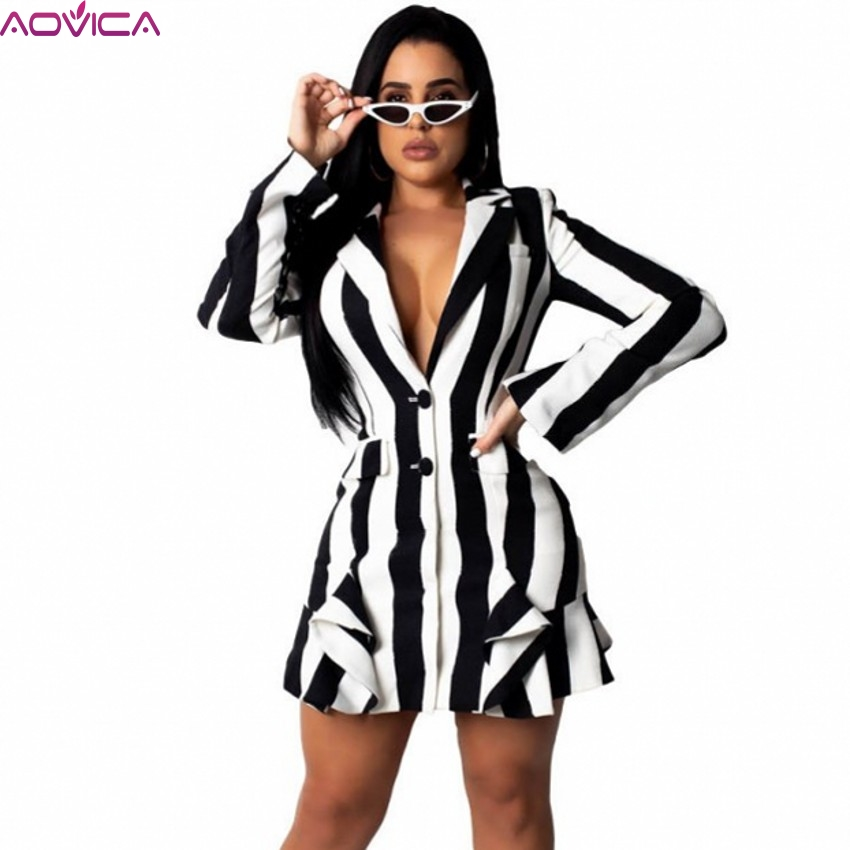 Women Mini Dress 2019 Spring Autumn Sexy Long Sleeve Notched Striped Print Dress Boho Style Short Party Dresses Vestidos