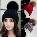 Women Spring Winter Hat Beanies raccoon fur ball Knitted Cap Crochet Rabbit Fur Pompons Ear Protect Casual beanie ski pom Cap