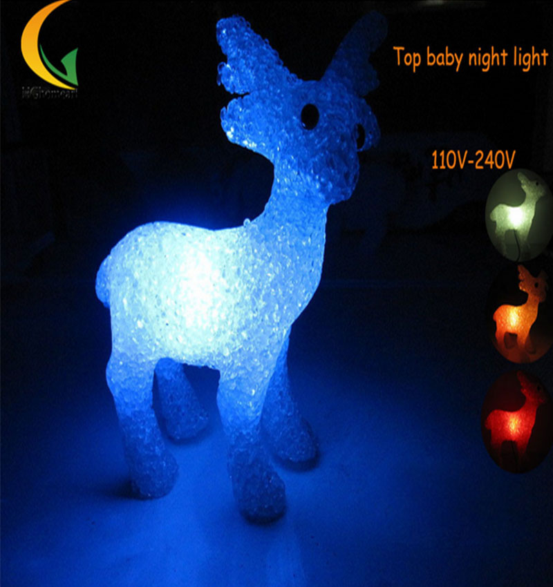 creative novelty led night light 110V 220V Top models Deer Crystal LED Colorful baby night light lamp light night ...
