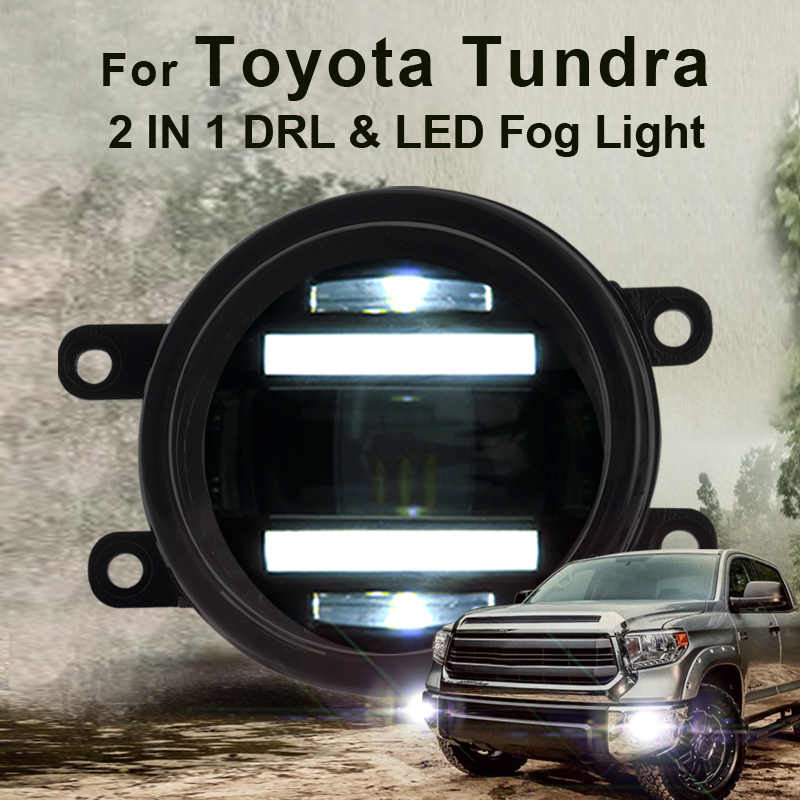 2014 For Toyota Tundra led fog lights+LED DRL+turn signal lights Car Styling LED Daytime Running Lights LED fog lamps
