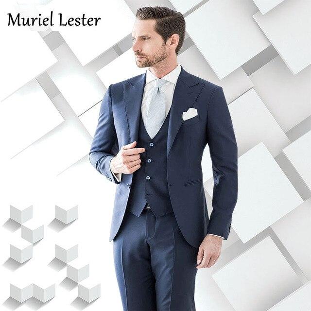 ML-224 luxury suits Latest Coat Pant Designs Navy Blue Men Suit Single  Breasted Jacket Slim Fit 3 Piece Tuxedos 2018 suits man 2702c48357fa