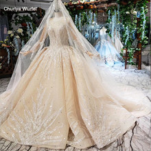 HTL462 princess ball gown wedding dresses long sleeve o-neck appliques champagne lace wedding gowns with wedding veil mariage(China)