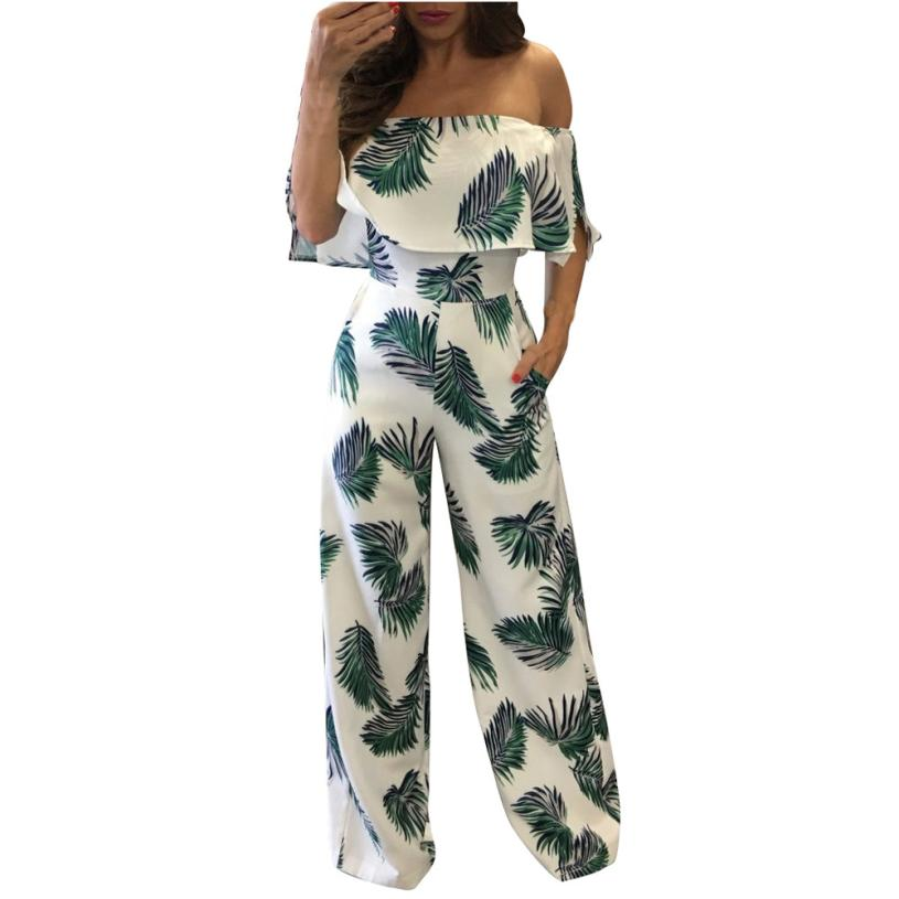 Woweile 3001 2017 Women Short Sleeve Off One Shoulder Floral Print Playsuit Long Pants Romper