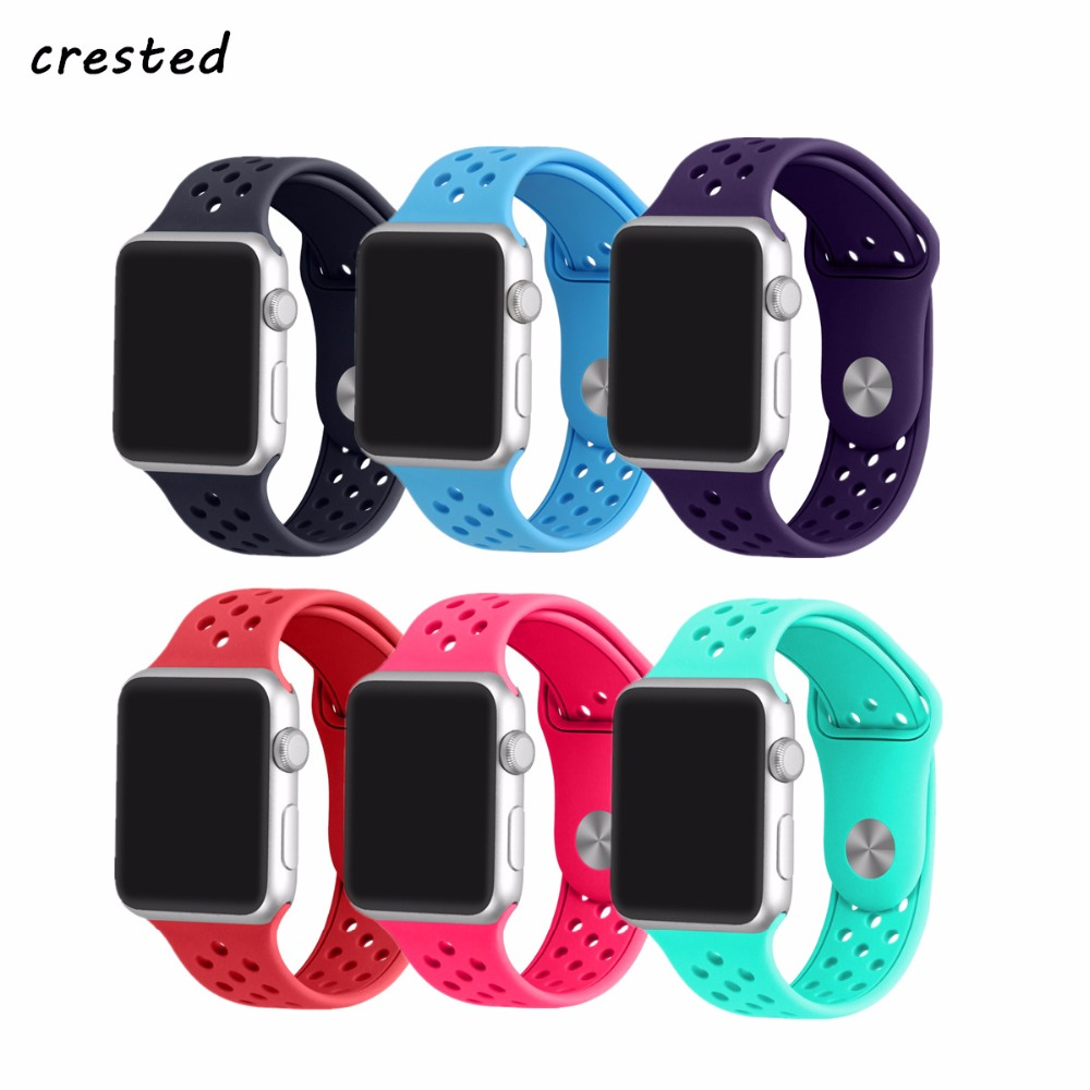 CRESTED sport band for apple watch 3 42mm/38mm iwatch 3/2/1 silicone strap rubber wrist watch band bracelet replacement strap crested sport band for apple watch 3 42mm 38mm strap for iwatch nike 3 2 1 wrist band bracelet silicone strap