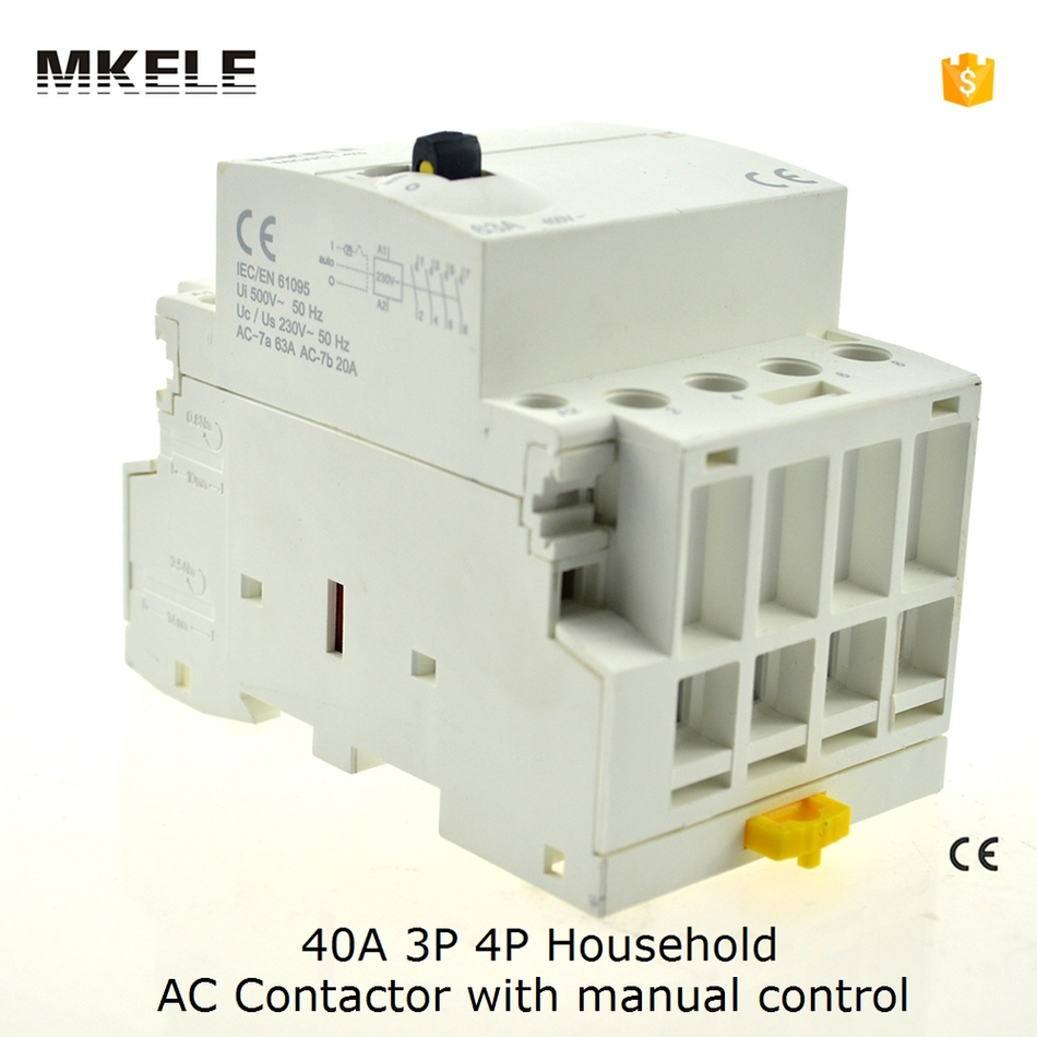 40A 4P Contator 220V 50/60HZ Din Rail Household Ac Contactor Manually Operated4NO freeshipping a2175hbt ac fan 171x151x5 mm 17cm 17251 230vac 50 60hz