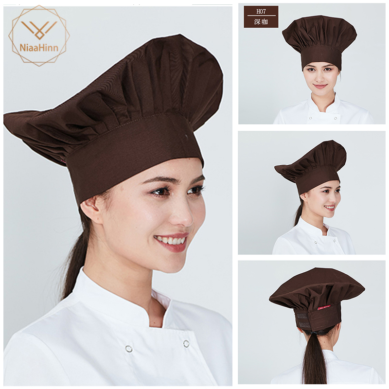 Niaahinn High Quality Chef Food Service Cap Hotel Restaurant White Black Chef High Cloth Hat High Quality Smokeproof Pleated Cap