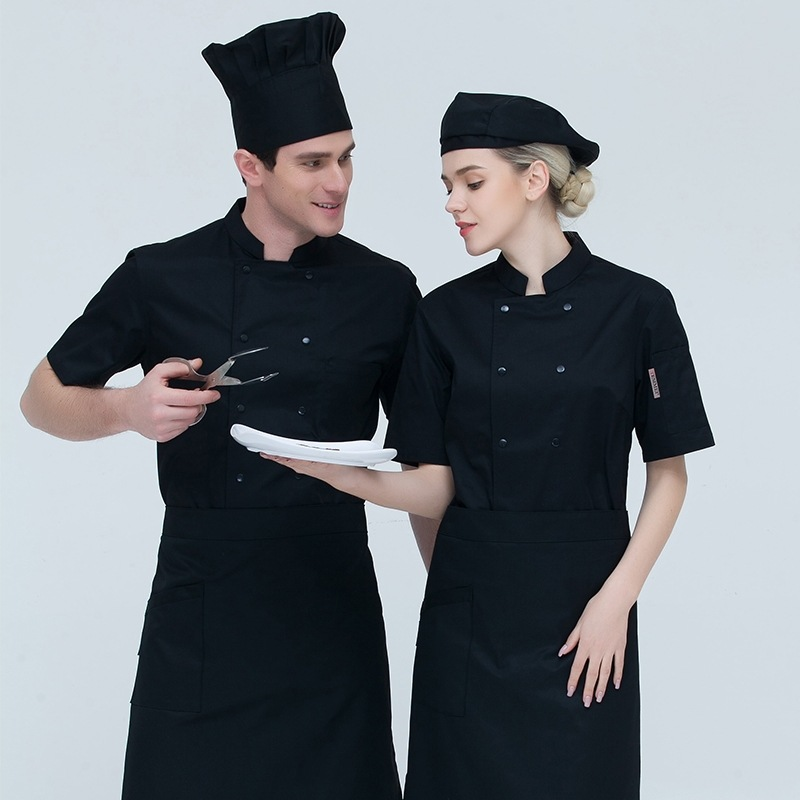 Summer Short Sleeve Chef Jackets Breathable Kitchen Chef Overalls Restaurant Hotel Chef Coat Coffee Workwear Cook Clothes B-6503