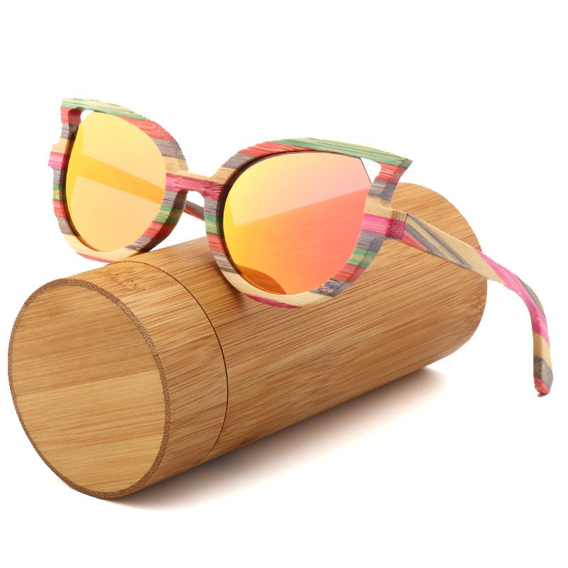 luxury Fashion cat eyes ladies sunglasses polarized for men and women color bamboo sun glasses travel with wood glasses box
