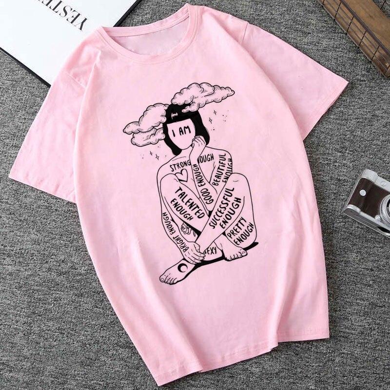 Summer 2019 Printing Tshirt Fashion Harajuku Funny Kawaii Retro Feminist Power Slogan O Neck Slim Fit Shirt Women Korean Style