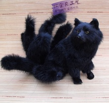 new creativeThe nine-tailed fox toy resin&fur simulation black fox doll gift about 28x26cm