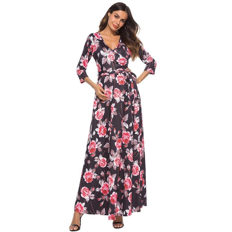 Вечернее платье Одежда для беременных пуловер для беременных с цветочным принтом с v-образным вырезом платья для беременных платье для бере...