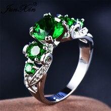 c28744c39890 JUNXIN Vintage mayo Birthstone piedra verde anillos de compromiso para las mujeres  925 Plata de Ley llena de lujo Zircon redondo.