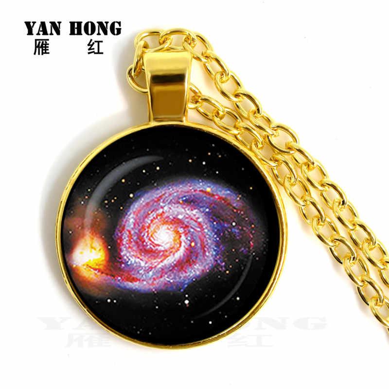 14 pezzi/set di collana di cristallo di vetro buco nero chiaro di luna pianeta 25 millimetri rotonda pendente Della Collana del maglione. Friends'Birthday Gif