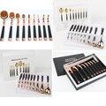 9 unids oval overal pincel de maquillaje cepillo conjunto de cepillo de Dientes de oro rosa set de golf profesional mango maquillaje sistemas de cepillo del maquillaje herramienta regalo