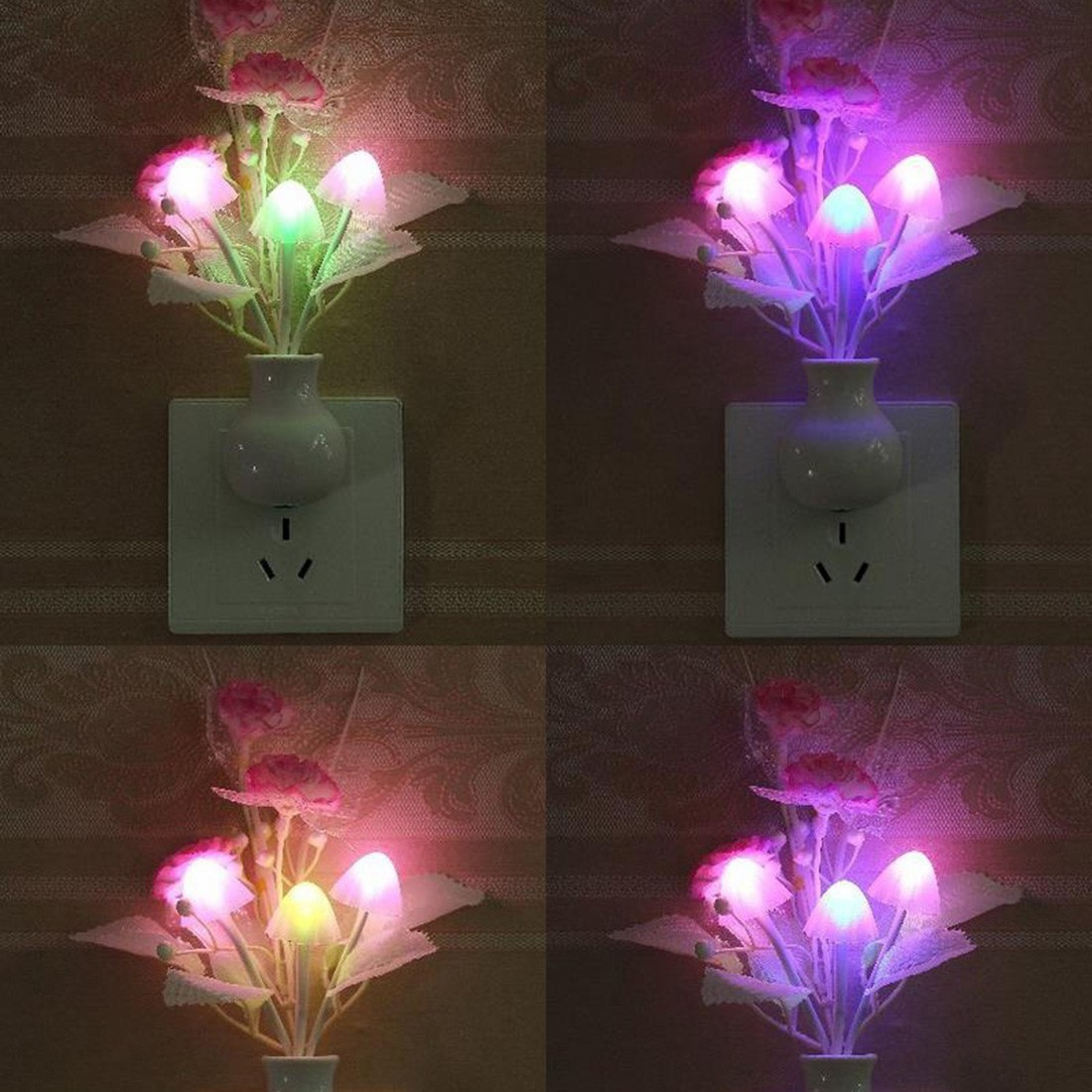 Lovely Colorful LED Lilac Night Light Lamp Mushroom Romantic Lilac Night Lighting For Home Art Decor Illumination US Plug