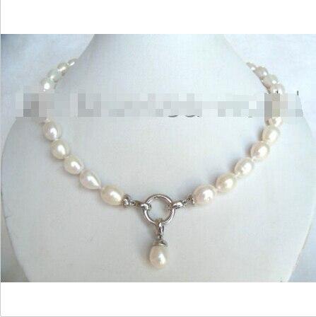 LIVRAISON GRATUITE>>> CLASSIQUE 12 MM blanc nautral goutte à goutte perles collier 925 s poissons b1121 ^^^@^ Noble style Naturel Fine jewe hot new