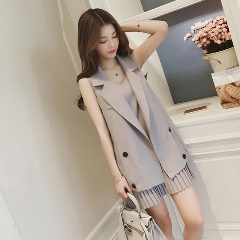 2 Piece Women Long Vest Jacket + Pleated Dress