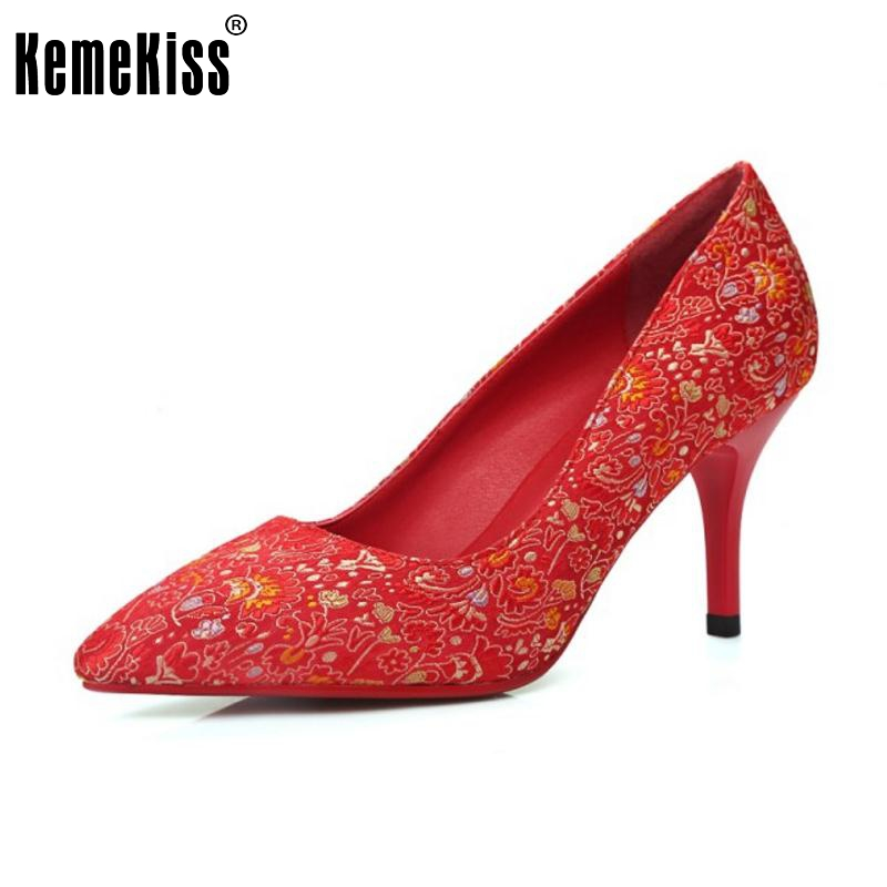 Size 33-40 Women's High Heel Shoes Women floral Thin Heel Pointed Toe Pumps Sexy Ladies Fashion Red Color Wedding Party Shoes doratasia denim eourpean style big size 33 43 pointed toe women shoes sexy thin high heel brand design lady pumps party wedding