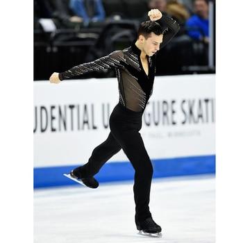 Nasinaya Boys Man Figure Skating Performance Clothing Customized Competition Ice Leotard Kids Elastic Black Mesh