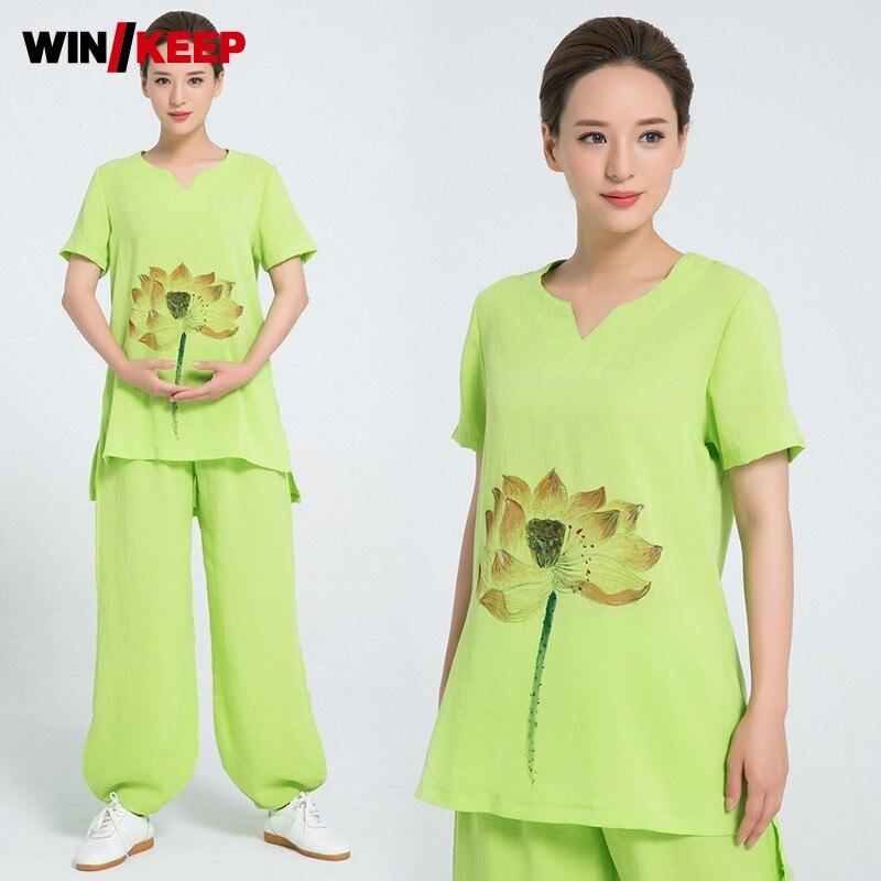 Summer Breathable Luxury Linen Wushu Set Women Short Sleeve Floral Printed Taichi Uniform Sports Track Suit Meditation Clothing