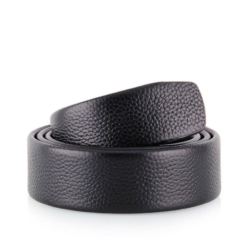 LannyQveen full grain leather belt No Buckle belt Black color Genuine Leather Automatic Belts Strap Men ribbon belt