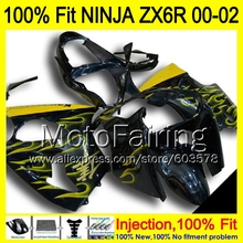 8Gifts Injection mold Body For KAWASAKI NINJA ZX-6R 00-02 1HM11 ZX 6R ZX6R 00 01 02 ZX636 2000 2001 2002 Fairing yellow flames