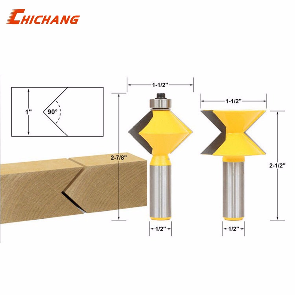 90 degree woodworking mortise and tenon knife, carpenter milling cutter, plate joint bit 1/2 shank