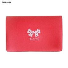 WholeTide 10* Women Cute Bowknot Id Credit Card Bag Holder Case (red)