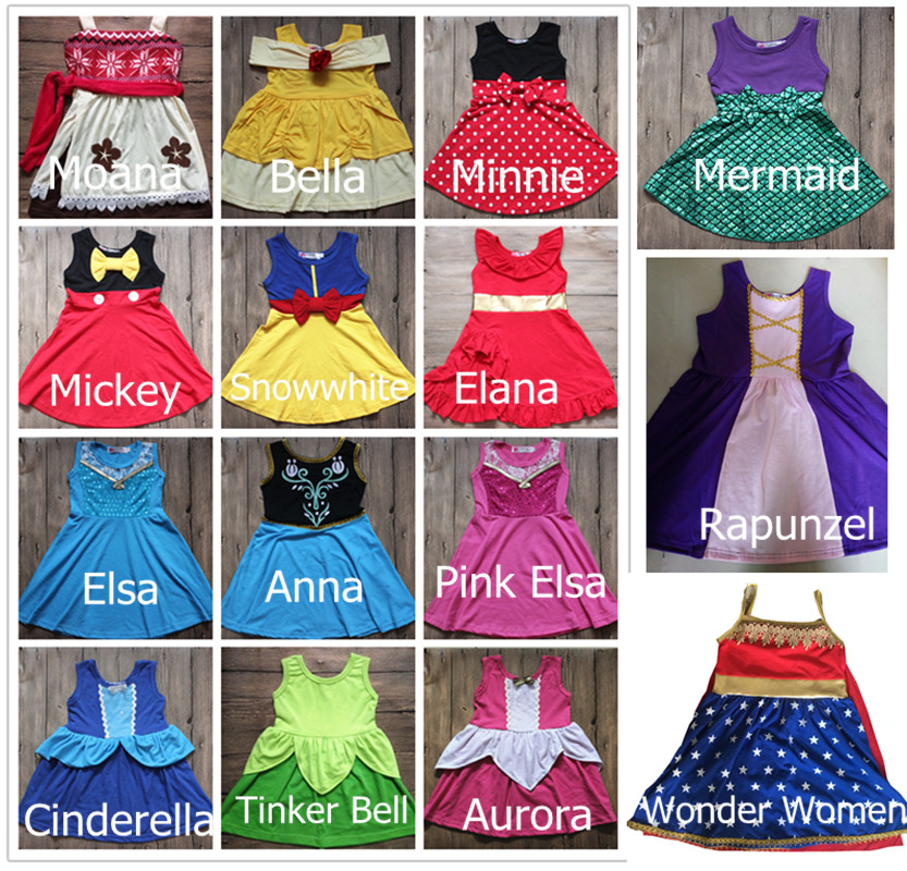 2018 Summer Princess Dress Birthday Elsa Anna Costume Dresses Moana Belle Mermaid Minnie Mickey Party Cosply Dress Wonder Women