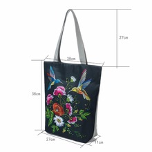 Miyahouse Retro Floral Print Beach Bags For Women Canvas Tote Handbags Birds Design Single Shoulder Bags Female Shopping Bag