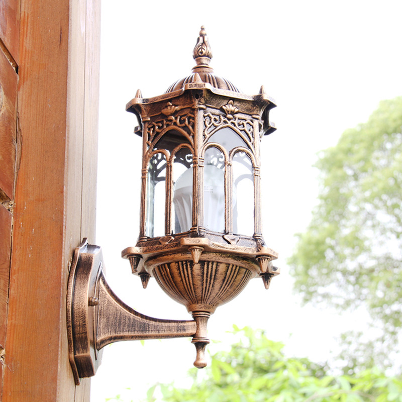 Bronze Antique Brass Ip65 Luxary American European Outdoor Sconce Vintage Classical Waterproof
