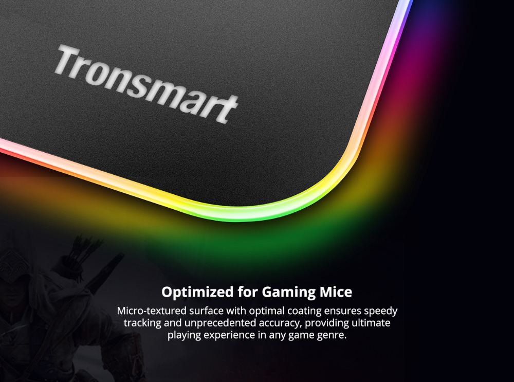 Tronsmart Shine X RGB Gaming Mouse Pad Compupter Mouse Pad Gamer USB Mat with 8MB flash memory,16.8 Million Colors,Touch Sensor 3