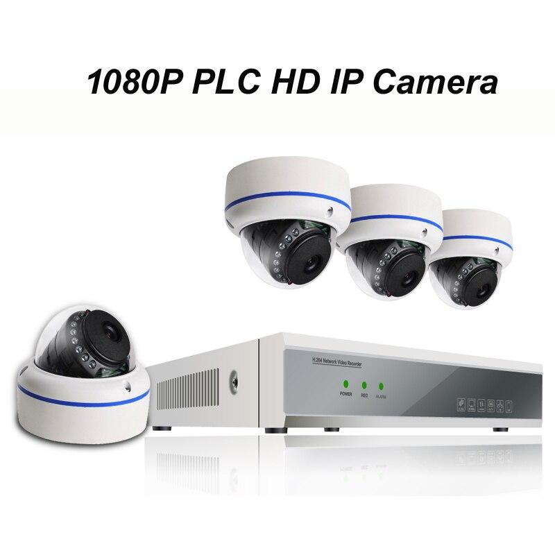 4pcs of 1080P PLC HD IP Dome Camera with 1080P NVR DIY Kit with Power Line Communication & P2P Cloud Server & Free APP for Live 2 0m 4pcs cloud