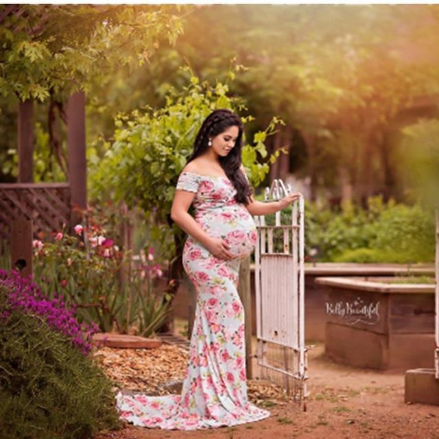 34dffbd04 Maternidad para foto Tiro ropa para las mujeres embarazadas manga corta de  algodón de impresión vestido